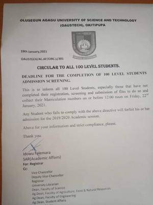 OAUSTECH notice to 100 level students on completion of registration for 2019/2020 session
