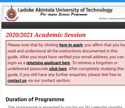 LAUTECH Pre-degree admission