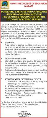 Oyo State College of Education, Lanlate admission form for 2020/2021 session