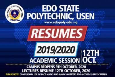 Edo State Polytechnic resumption date announced