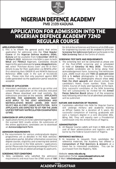NDA 72nd Regular Course Admission For 2020/2021 Announced (Deadline Extended)