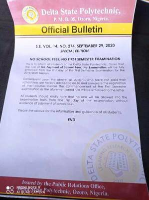 Delta State Polytechnic Ozoro notice to students on