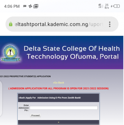 Delta State College of Health Technology admission form for 2021/2022 session