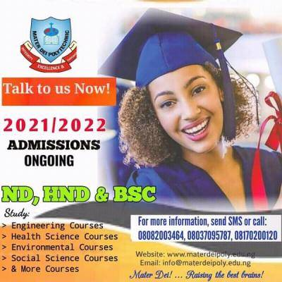Mater Dei Polytechnic admission for 2021/2022 session
