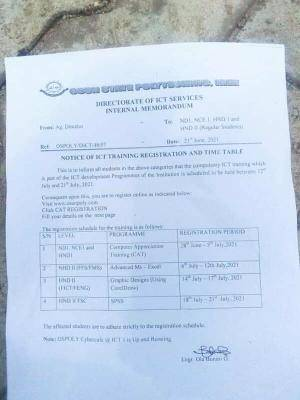 OSPOLY ICT training registration and timetable