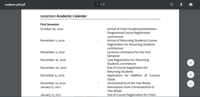 Redeemer's University resumption date and academic calendar for 2020/2021