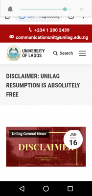 UNILAG disclaimer notice on payment of online lectures & examinations