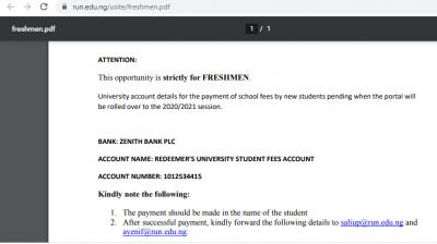 Redeemers University notice to students on payment of fees