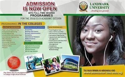 Landmark University Post-UTME Screening 2018/2019 Announced