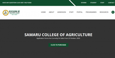 Samaru College of Agriculture for 2020/2021 session