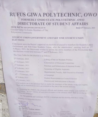 RUGIPO notice on SUG elections
