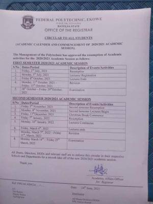 Fed Poly, Ekowe academic calendar for 2020/2021 session