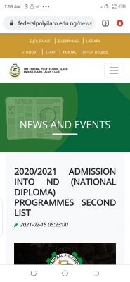 Ilaro Poly ND 2nd batch Full-time Admission List, 2020/2021