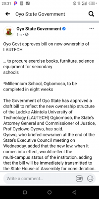Oyo Govt approves bill on new ownership of LAUTECH