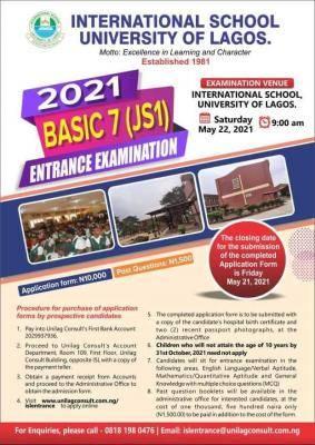 International School University of Lagos JSS1 admission form, 2021