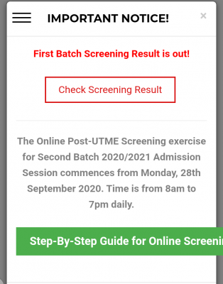 ABUAD Post-UTME screening results for 2020/2021 session is out