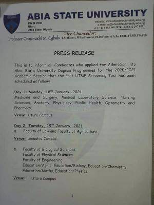 ABSU Post-UTME screening schedule for 2020/2021 session