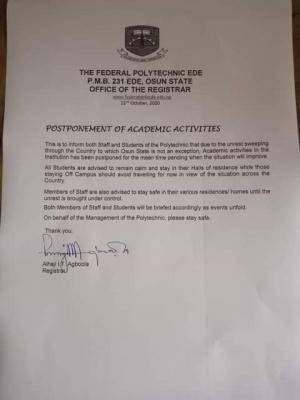 Fed Poly Ede suspends academic activities