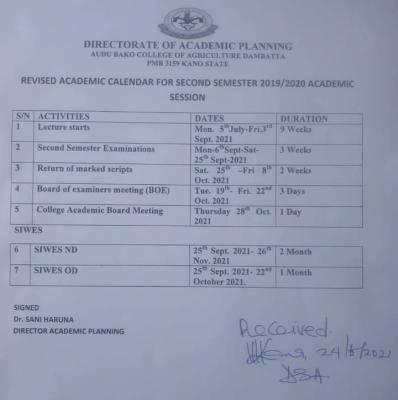 Audu Bako College of Agriculture revised academic calendar, 2019/2020