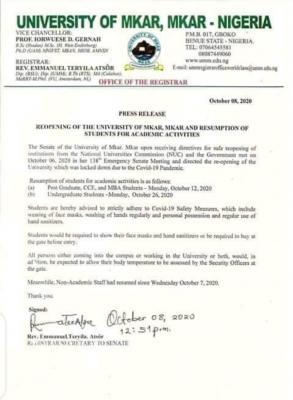 University of Mkar notice on resumption of academic activities