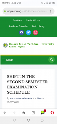 UMYU shifts 2nd semester exams scheduled between July 19th - 24th