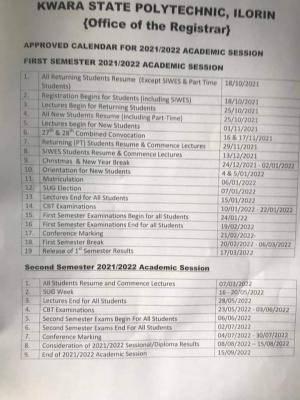 Kwara Poly academic calendar for 2021/2022 session