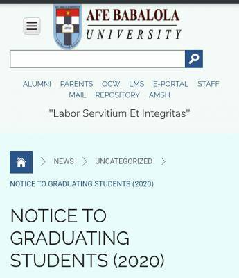 ABUAD Publishes Important Notice For its students