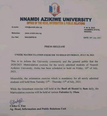 UNIZIK announces new date for matriculation exercise, 2020/2021