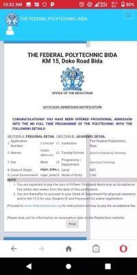 Fed Poly Bida 1st batch ND admission list for 2020/2021 session