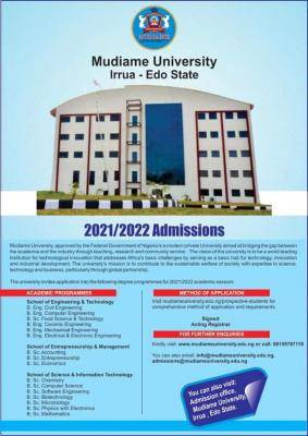 Mudiame University Post-UTME 2021: Eligibility and Registration Details