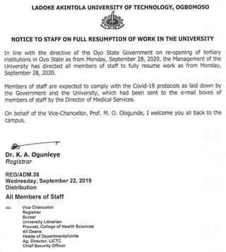 LAUTECH notice to staff on resumption