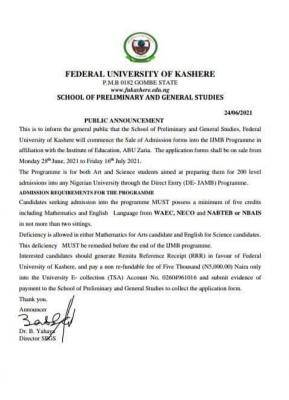 FUKashere IJMB admission form for 2020/2021
