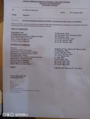 Hassan Usman Poly revised academic calendar for 2019/2020 session
