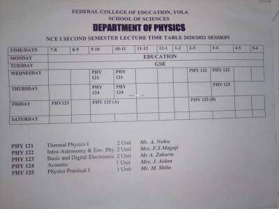 FCE Yola 2nd semester lectures timetable