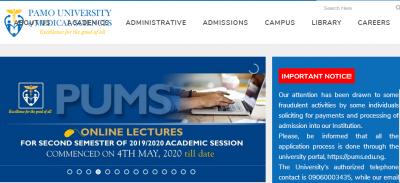 PAMO University of medical sciences scam alert notice