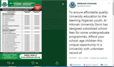 Al-hikmah University management subsidizes school fees