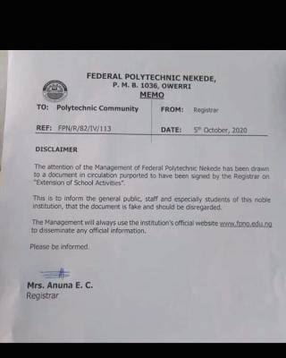 Federal Polytechnic Nekede disclaimer notice to the public