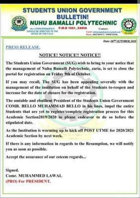 SUG of the Nuhu Bamalli Polytechnic Issues Notice to Students
