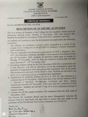 Adamu Tafawa Balewa college of education, Kangere notice on resumption of academic activities