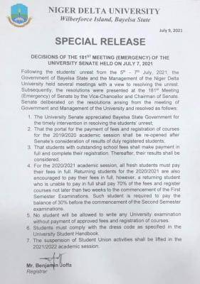 NDU notice to students on the decisions of Bayelsa State Govt. and the Management