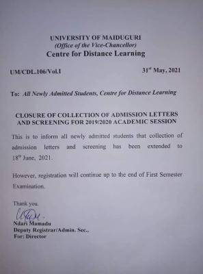 UNIMAID DLC extends deadline for collection of admission letters by new students