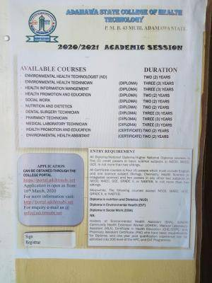 Adamawa College of health Technology admission forms for 2020/2021