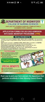 College of Nursing, Ihiala School of Midwifery application form, 2021/2022