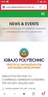 Igbajo Polytechnic Post-UTME screening date for 2020/2021 session