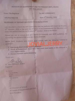 I.M.T Enugu announces resumption of academic activities