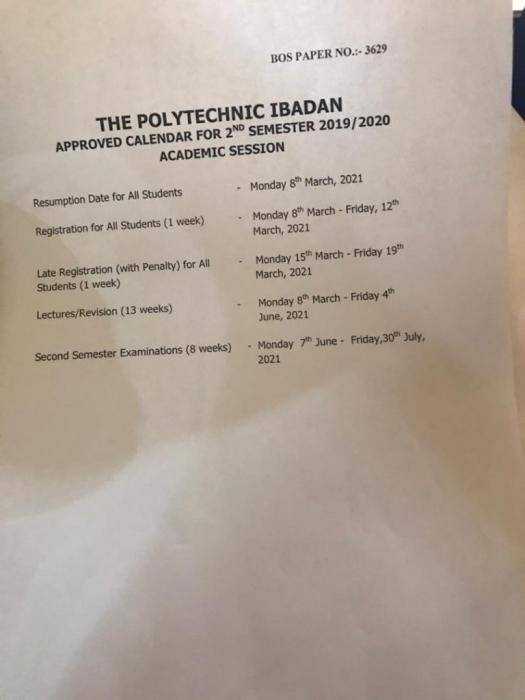 Poly Ibadan announces resumption date for the second semester 2019/2020 academic session