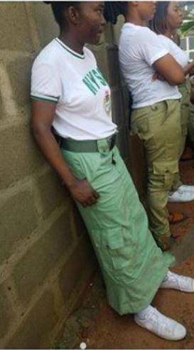 NYSC: Corper Turns Khaki Into Long Skirt, See How She Rocks It