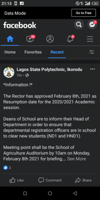 LASPOTECH notice on resumption and new students' registration for 2020/2021 session