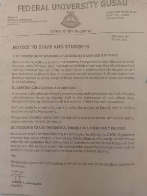 FUGUSAU notice to staff and students