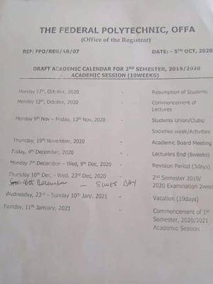 Federal Polytechnic Offa resumption and academic calendar for 2019/2020 session